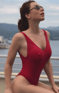 slinky red swimsuit
