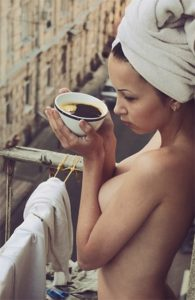 Escort girl Turkey has just left the shower, exited at the balcony with a cup of coffee in a hand to breathe a fresh air