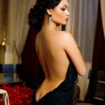 Russia incall escort Mariana takes off her black dress exposing marvelous bends of her body